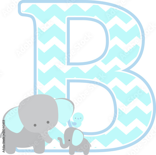Initial B With Cute Elephant And Little Baby Isolated On