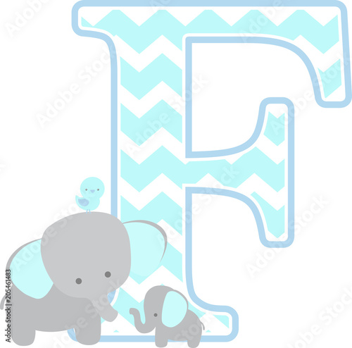 77f3eee10fdca initial f with cute elephant and little baby elephant isolated on ...