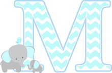 Initial M With Cute Elephant A...