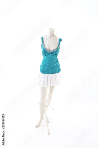 77dc75514a4 Blue top with mini skirt summer style on mannequin full body shop display.  Woman fashion
