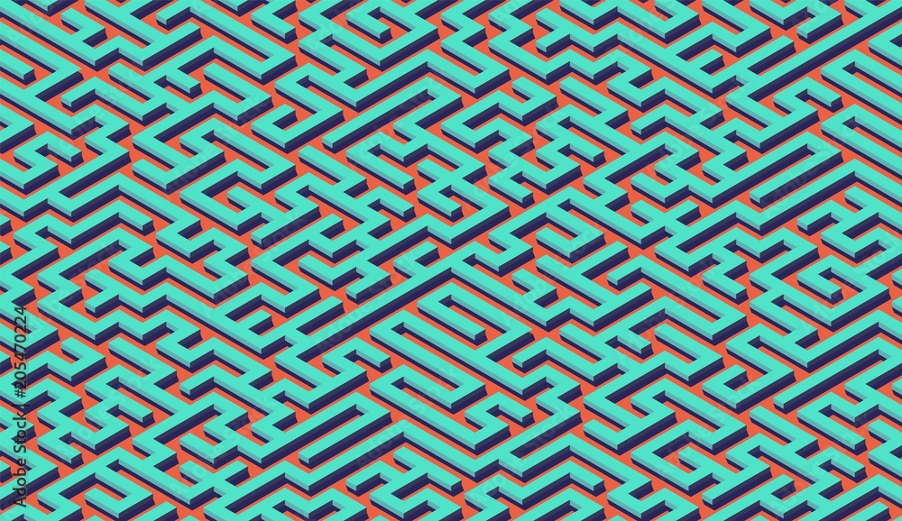 Fototapety, obrazy: Maze pattern abstract background with labyrinth for poster or wallpaper