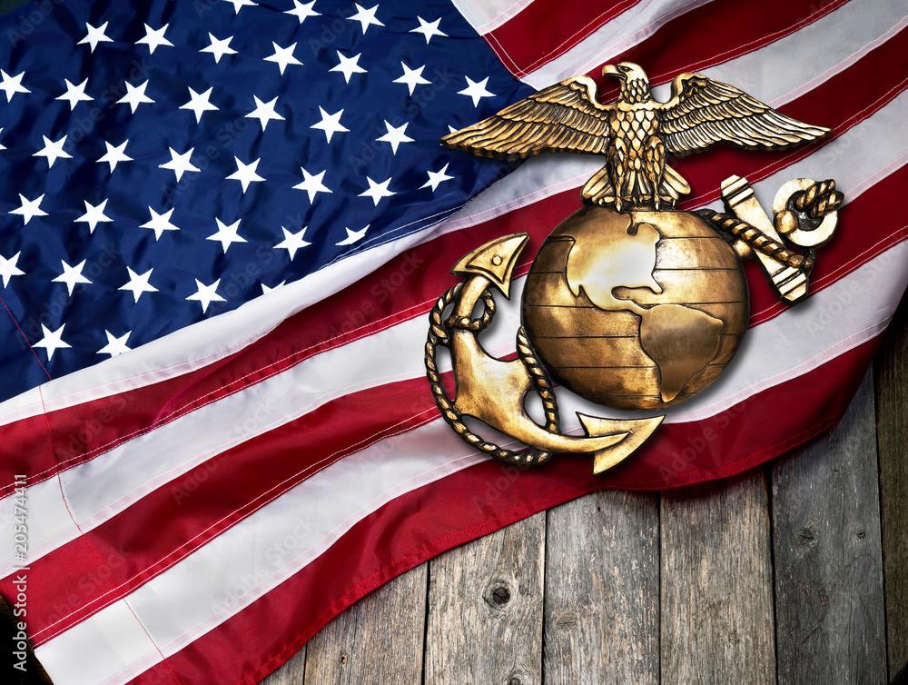 Fototapety, obrazy: Marine Eagle, Globe and Anchor.