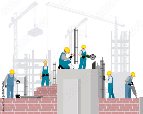 Fototapeta Builders on a construction site obraz na płótnie