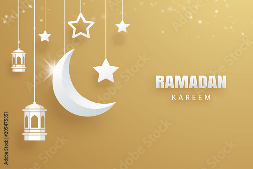 ramadan kareem greeting card moon and stars traditional lanterns gold background eid mubarak banner illustration design use for islamic flyer poster brochure sale buy this stock vector and explore similar vectors adobe stock
