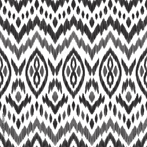 In de dag Boho Stijl Tribal pattern. Seamless background. Scribble texture. Black and white graphic design. Creative vector illustration. Ethnic boho ornament. Impressive fashion print.