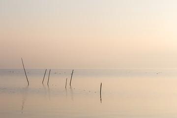 Obraz na Szkle Minimalistyczny A very minimalistic view of a lake at dawn, with soft light and