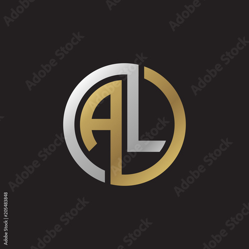 Photo Initial letter AL, looping line, circle shape logo, silver gold color on black b