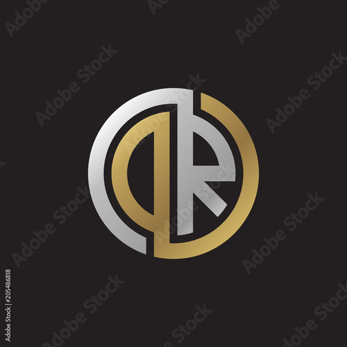 Photo Initial letter DR, OR, looping line, circle shape logo, silver gold color on bla