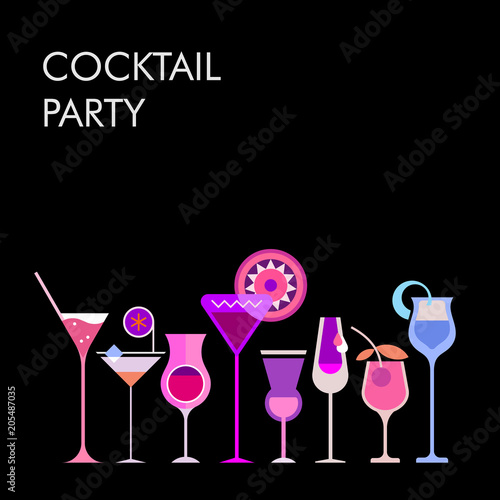 Door stickers Abstract Art Cocktails vector background