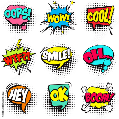 Fotobehang Pop Art Collection of Cartoon, Comic Speech Bubbles. Colored Dialog Clouds with Halftone Dot Background in Pop Art Style. Vector Illustration for Comics Book. Speech Bubbles with Word and Sound Illustration