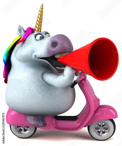 Fotobehang Stof Fun unicorn - 3D Illustration