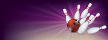 Purple Bowling Pin Deck Red Ball Strike Banner Pins