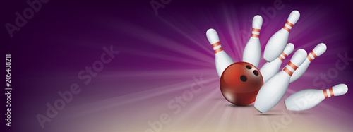 Obraz na plátně Purple Bowling Pin Deck Red Ball Strike Banner Pins