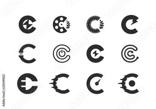 Set Of Letter C Logo Design Template Cinema Sd Electric Flash Creative Concepts