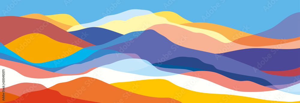 Fototapety, obrazy: Multicolored mountains, orange and blue waves, abstract shapes, modern background, vector design Illustration for you project