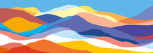 Multicolored Mountains, Orange And Blue Waves, Abstract Shapes, Modern Background, Vector Design Illustration For You Project