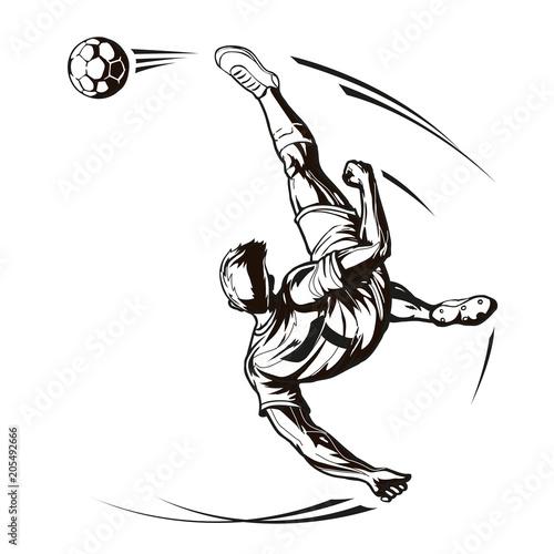 Soccer player overhead kick.