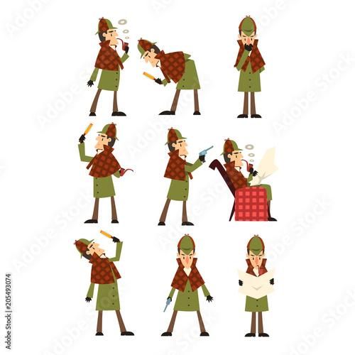 Fotografía  Flat vector icons of detective Sherlock in different actions thinking, reading n