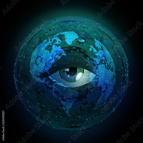рисованной глаз иллюстрации с абстрактным фоном космоса