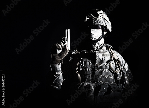 Photo  Elite troops fighter, US special operations forces soldier, marine in combat uni