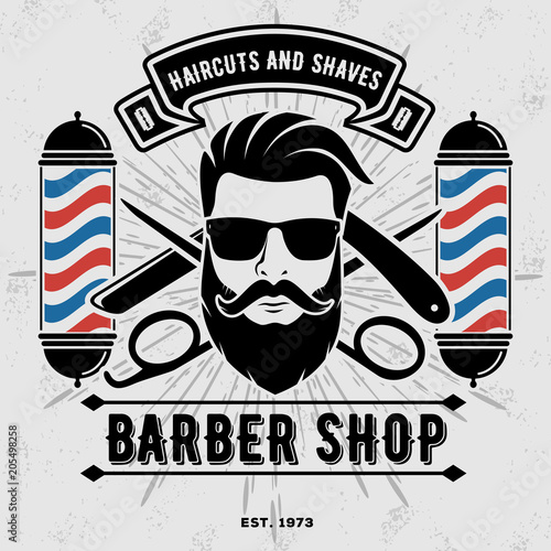 Barbershop Logo with barber pole in vintage style Poster Mural XXL