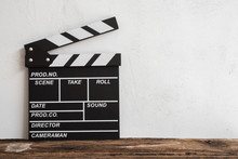Cinema Clapperboard On Wooden ...