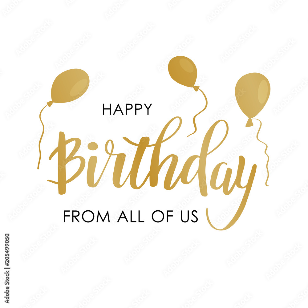 Happy Birthday Greeting Card With Lettering Design Foto Poster Wandbilder Bei EuroPosters