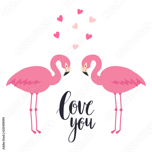 Canvas Prints Flamingo Bird Two pink flamingos in love