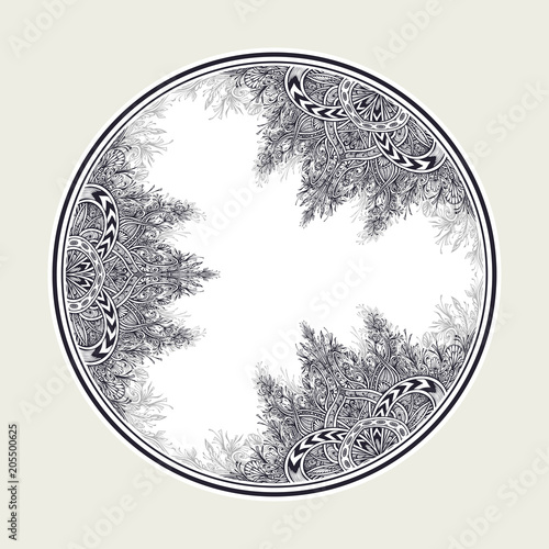 Hand Draw Vintage Abstract Floral Ornament In Circle Black