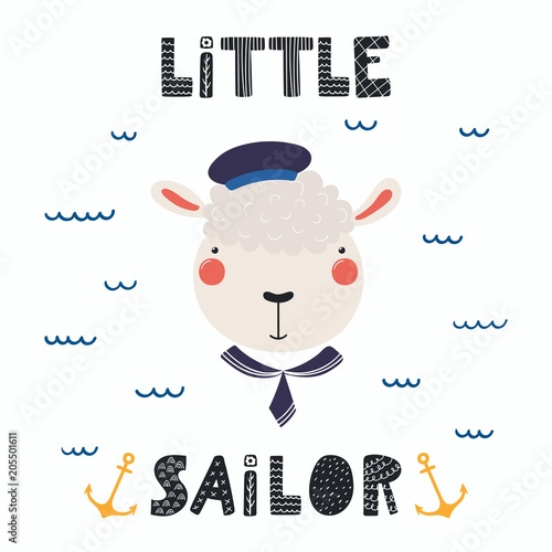 Printed kitchen splashbacks Illustrations Hand drawn vector illustration of a cute funny sheep sailor in a cap and collar, with lettering quote Little sailor. Isolated objects. Scandinavian style flat design. Concept for children print.
