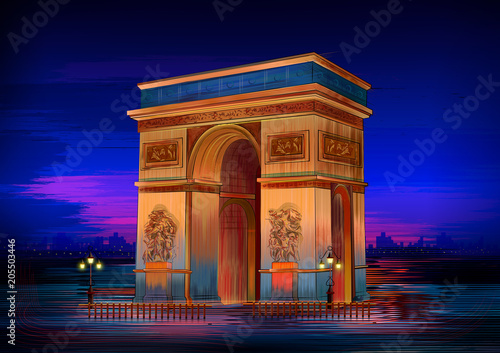 Arc De Triomphe world famous historical monument of Paris Canvas Print