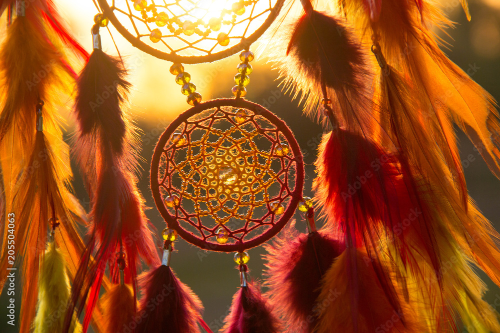 Fototapety, obrazy: Handmade dream catcher with feathers threads and beads rope hanging