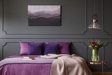 Purple And Grey Bedroom Interior