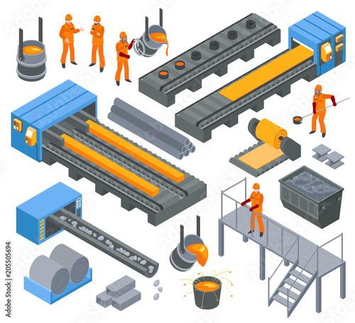 Fotomural Steel Industry Isometric Set
