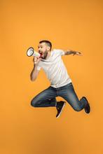 Jumping Fan On Orange Backgrou...