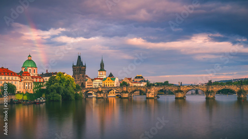 Fotobehang Berlijn Scenic spring sunset aerial view of the Old Town pier architecture and Charles Bridge over Vltava river in Prague, Czech Republic