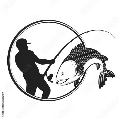 Fish and fisherman with a fishing rod Wallpaper Mural