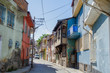 Beautiful old street in downtown with houses with wooden shutters in the classic Turkish Ottoman style,Afyon in Turkey,