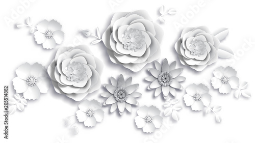 Obraz kwiaty   paper-art-summer-flowers-on-a-white-background-with-leaves-cut-of-paper-vector-stock-ill