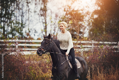 Fotografía  Young woman riding her horse through a pasture in autumn