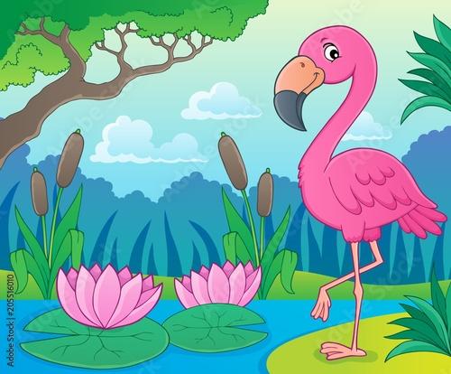 Foto op Canvas Voor kinderen Flamingo topic image 4