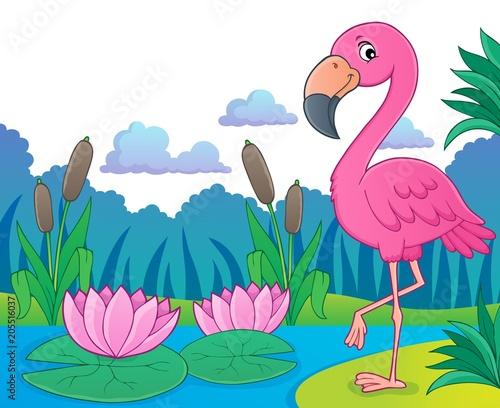 Foto op Canvas Voor kinderen Flamingo topic image 5
