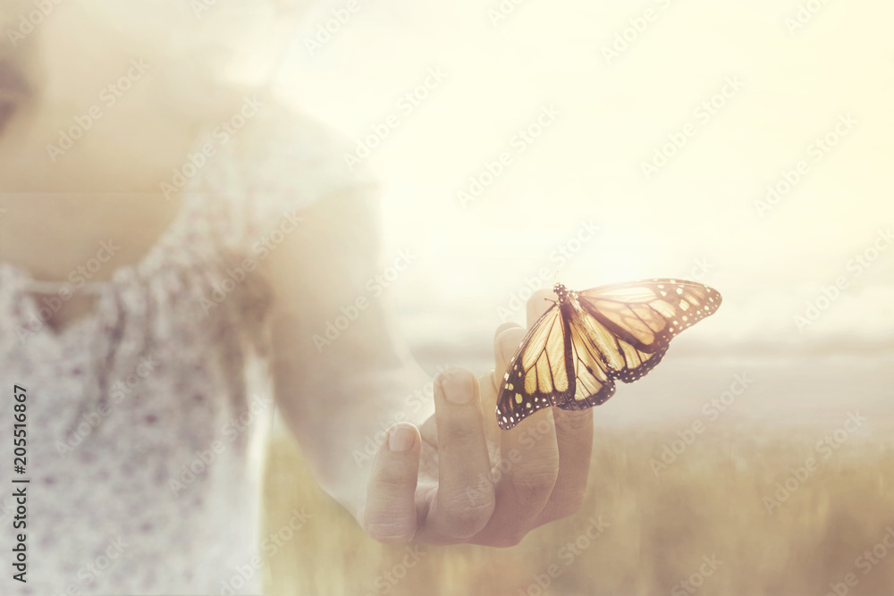Fototapeta a butterfly leans on a hand of a girl in the middle of nature
