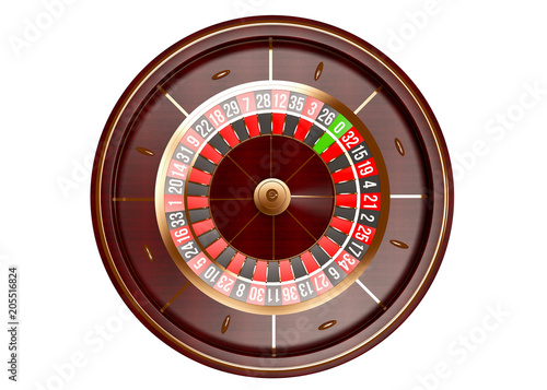 Casino roulette wheel top view isolated on white background плакат