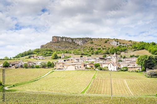 Foto op Plexiglas Lavendel Roche de Solutré et village, France, Bourgogne, Saône-et-Loire