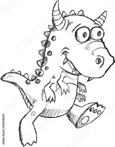 In de dag Cartoon draw Cute Monster Vector Illustration Art