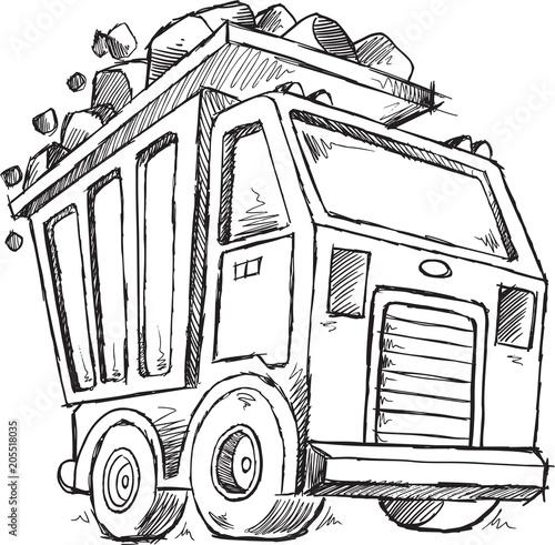 In de dag Cartoon draw Cute Dump Truck Sketch Doodle Vector illustration Art