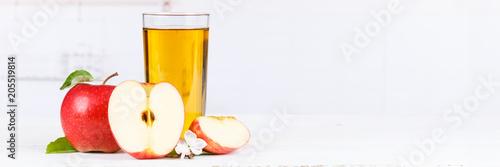 Apfelsaft Apfel Saft Äpfel Glas Banner Textfreiraum Copyspace Fruchtsaft