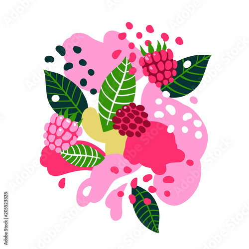 Raspberries and birds on abstract background. Vector seamless illustration. - 205523828