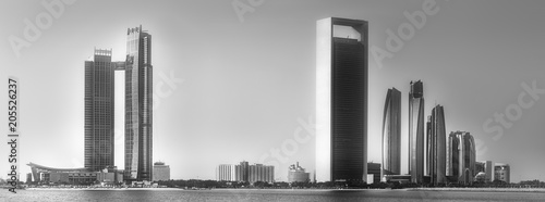 Staande foto Stad gebouw View of Abu Dhabi Skyline at sunrise, UAE
